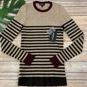Worth brown striped long sleeve ribbed sweater